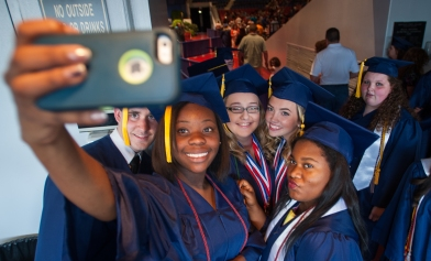 A group of Franklin County students take a selfie before graduation. © Bobby Ellis